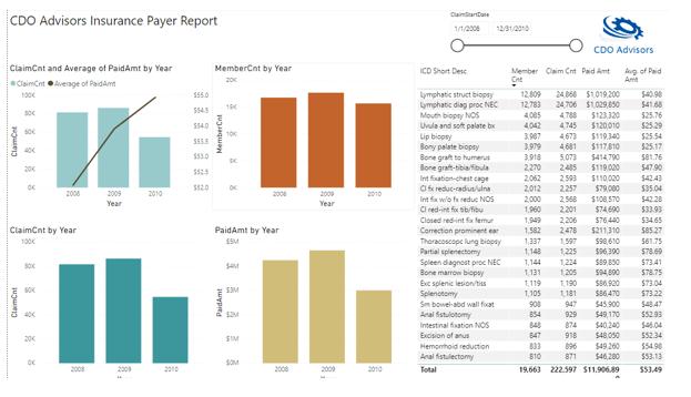 Claim Data Summary in Power BI
