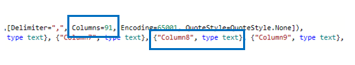 Power BI Advanced Editor Number of Columns Updated