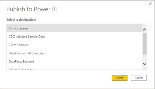 Publish to Power BI Select Destination CDO Advisors