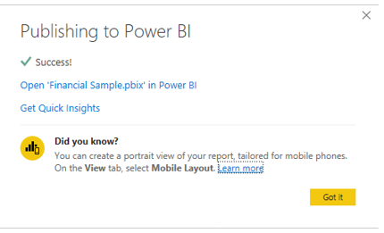 Publishing to Power BI Completed CDO Advisors